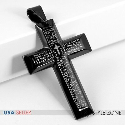 Men's Stainless Steel Bible Scriptures 3D Black Cross Pendant Charm Cool NEW 11L