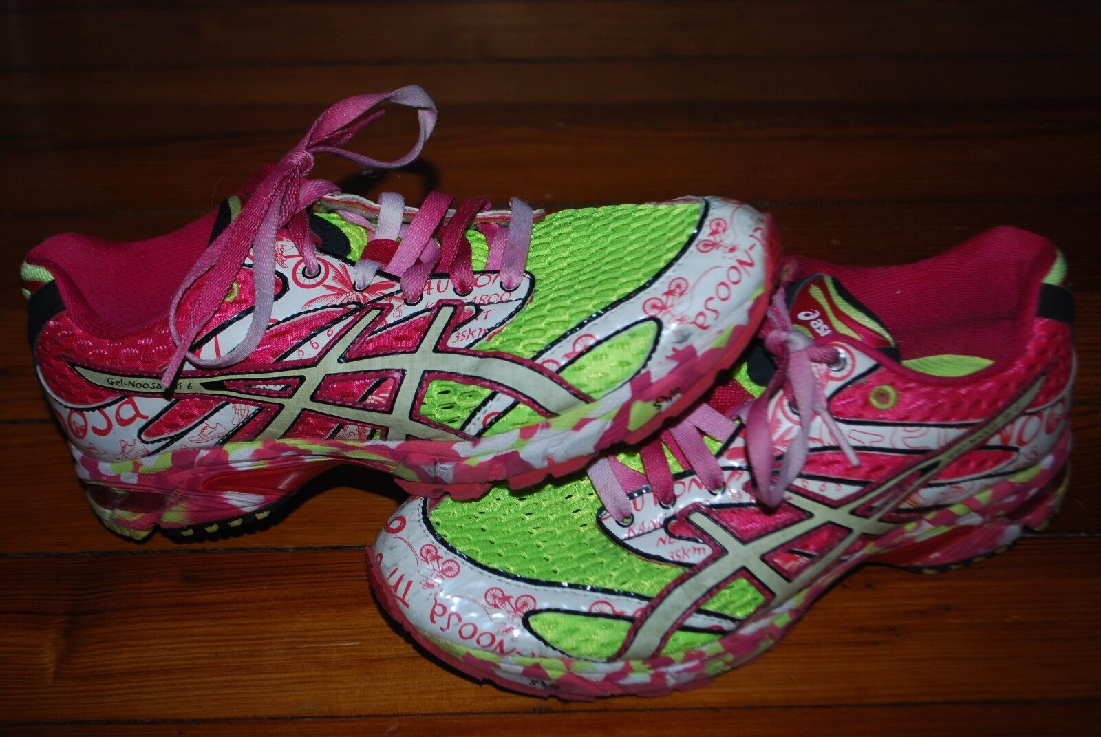 Women's Asics Gel Tri Noosa 6 Pink / Lime Green Running Sneaker (7.5)