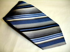 PLATINUM DESIGNS All Woven Blue, Black & White Stripe 100% Silk Tie NWT