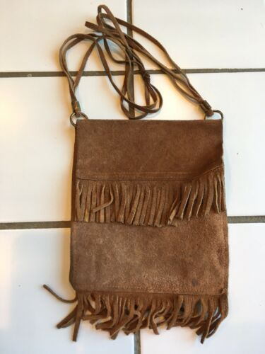 Vintage 1960s Hippy GIRL'S Small Fringed Beige SUE