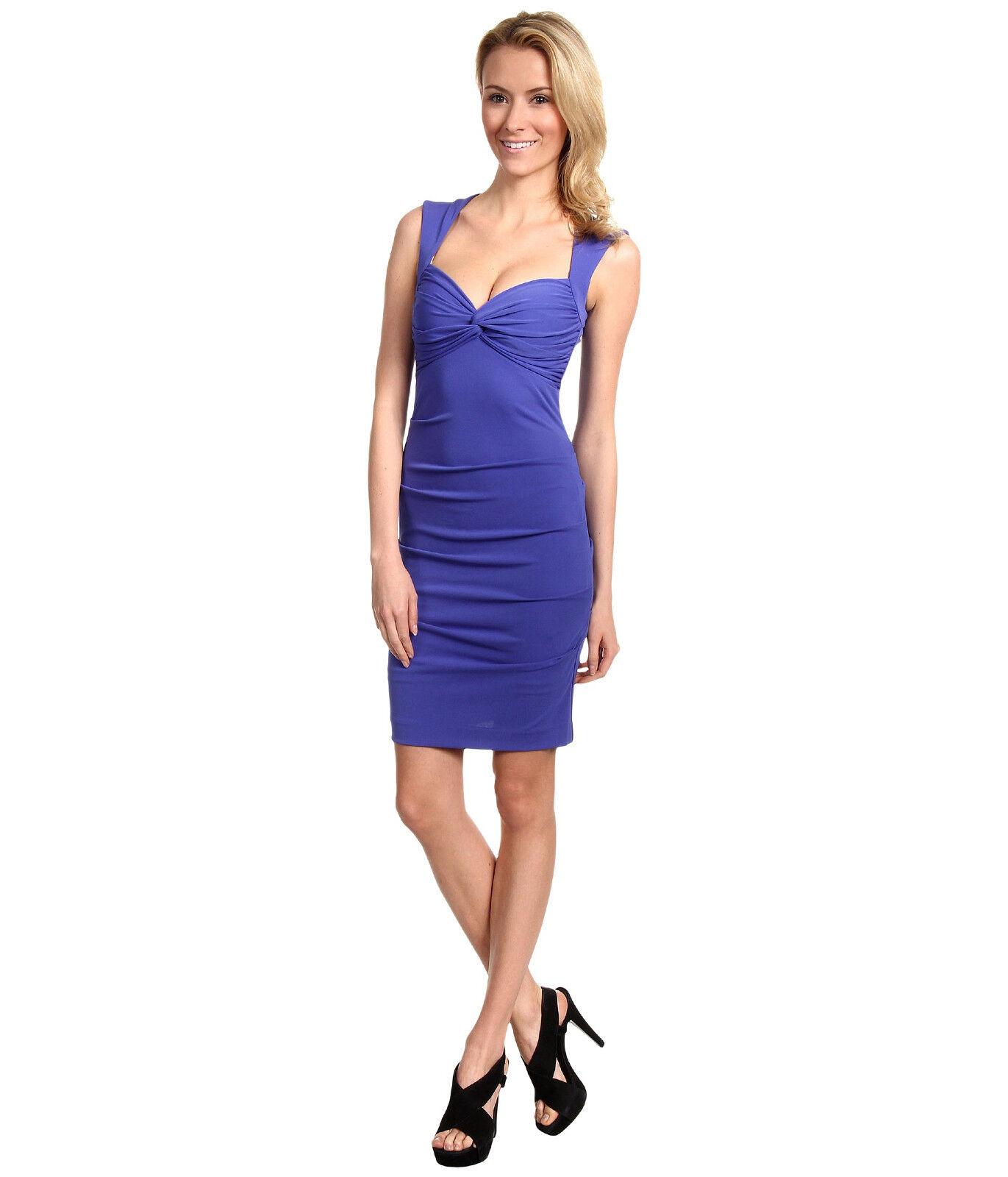 Nicole Miller Felicia Open Back Sheath Dress Sz 4 Cobalt (lila) New
