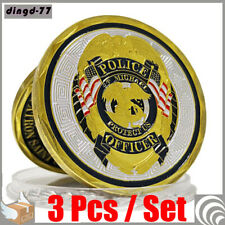 3Pcs St Michael Police Officer Badge Law Enforcement Protect US Challenge Coin