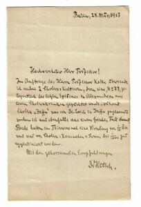 Autograph Heinrich Hetsch (1873-1947) Bakteriologe Berlin 1903 Brief Wilh. Kolle