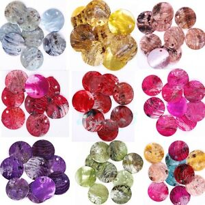 50-Pcs-Mussel-Shell-Flat-Round-Coin-Charm-Beads-18MM-CHOOSE-COLOR