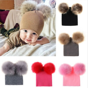 6283846b44837 Kids Baby Warm Winter Wool Knit Beanie Fur Pom Pom Bobble Hat Cap ...