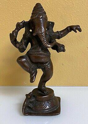 Antique Ganesh Hindu God Of Good Fortune And Luck Bronze Statue Ebay