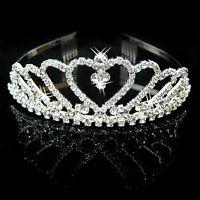 Bridal Rhinestone Crystal Crown Headband Veil Tiara Wedding Pageant Bridal Prom