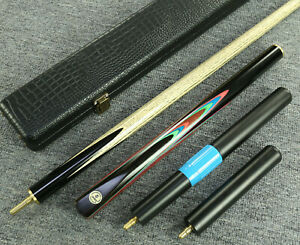 034-Grand-Cues-034-58-034-3-4-Jointed-Ash-Shaft-Black-Ebony-Handmade-Snooker-Cue-Set-YP15