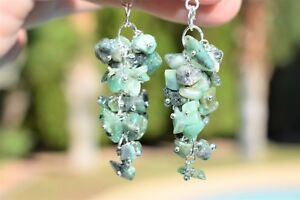 CHARGED-Emerald-Crystal-Chip-DESIGNER-Earrings-REIKI-Healing-Energy