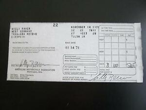Details about Willi Bauer Maico TRANS-AMA 1971 MotoCross Race Entry Winning  Receipt
