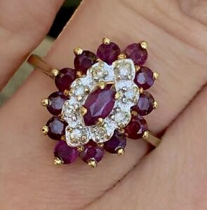 Estate-14k-Yellow-Gold-Rubies-And-Diamonds-Flower-Cocktail-Ring