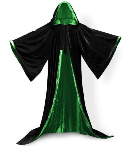 Black Cape Hooded Cloak Wizard Robes Renaissance New STOCK Black