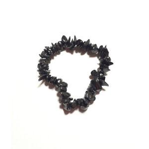 Pulsera-Shungit-Calidad-Extra-Mineral-Piedra-Natural-Chip-elastica-Unisex