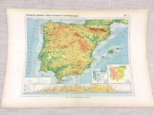 1888-Antique-Map-of-Spain-Portugal-Geology-Physical-Hypsometric-FRENCH-Original