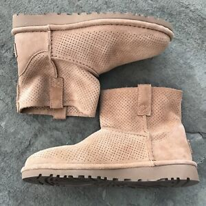 fa9cd724428 Details about UGG Australia Womens Classic Unlined Mini Perforated Suede  Boots Size 5 1016852