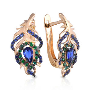 Details about Earrings New Russian Rose gold 585 14K zircone 3 13g Free  Shipping Best Price