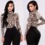 Fashion-Women-Ladies-Leopard-Print-High-Neck-Loose-Casual-T-Shirt-Blouse-Tops thumbnail 10