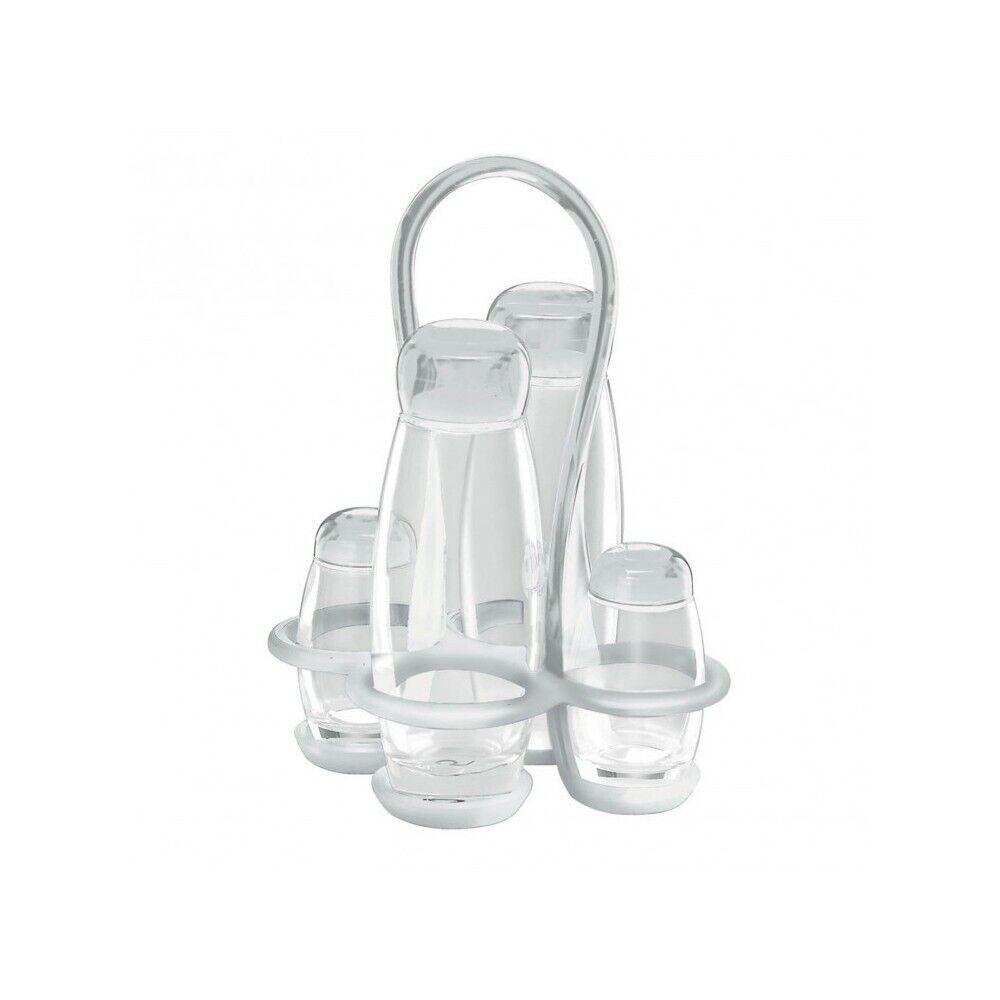 Set Vinegar Oil Salt and Pepper Guzzini White Collection Drops White 23130000