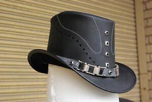 Top Hat Grunge Goth Genuine Leather Steampunk