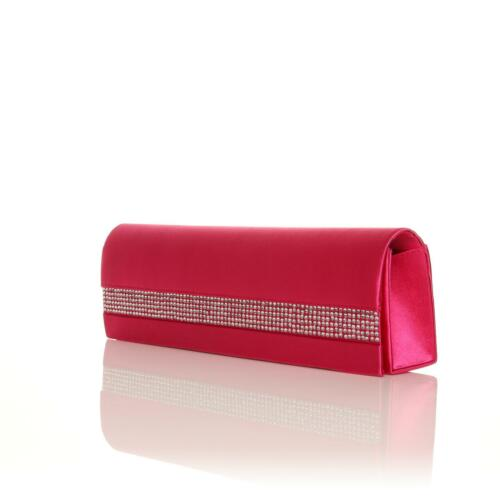 NEW LAIDES WEDDING SATIN DIAMANTE CLUTCH BAGS SLIM LARGE ENCRUSTED OCCASIONS