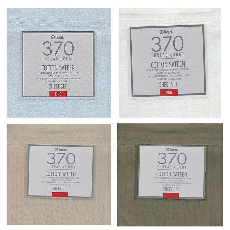 Linen Weiß Ice-Blau - 370TC Cotton SATEEN  4 Pce Sheet Set - QUEEN KING