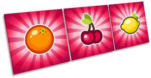Jackpot Fruit Machine Picture CANVAS WALL ART Triple Print Pink