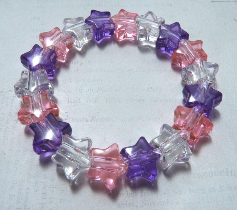 5 X Girls Princess Pink Purple & Clear Plastic Star Bead Bracelet New Party Bags