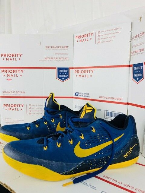 204ab3287048 Nike Mens Kobe IX 9 EM Shoes Blue Blue Blue Basketball University Gold  646701-474 Sz.11.5 45af93