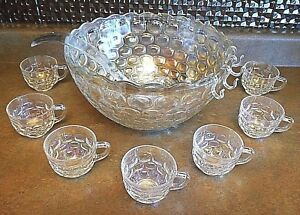 1950s Miniature Glass Punch Bowl /& Glasses Set Germany