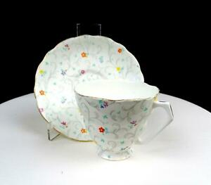 """RADFORDS CHINA ENGLAND #4820 MULTICOLOR FLOWERS AND VINES 3"""" CUP & SAUCER 1938-"""