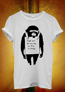 Banksy-Monkey-Lough-Now-Hipster-Men-Women-Unisex-T-Shirt-Tank-Top-Vest-454
