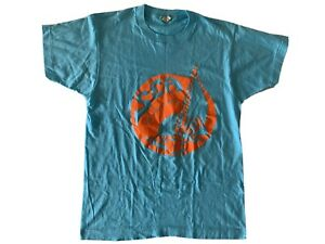 80s 90s Mens XL Single Stitch 50-50 Crew Vintage Screen Stars Turquoise T-Shirt