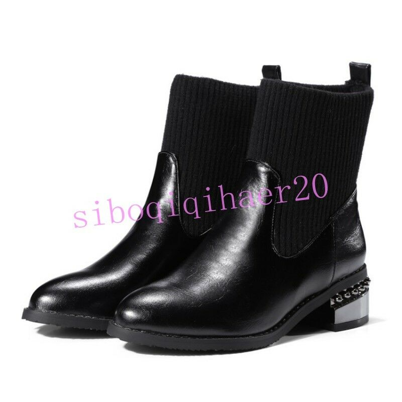 Fashion Womens Ankle Boots Pu Leather Stretchy Shoes Pull On Low Heels US 4.5-13