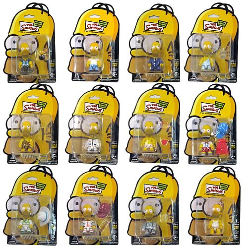THE SIMPSONS - Homer Simpson Mania Series 3  Qee Action Figure Keychain Set (12)