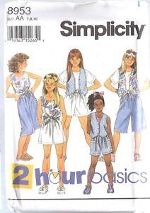huge discount 231e7 15fdf Dettagli su Non Tagliati Vintage Simplicity Cartamodello Bambine Shorts Top  Rivestito Gilet
