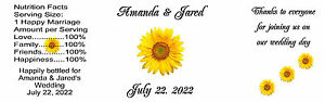 Wedding Water Bottle Labels 8 x 2.5 Gloss Sunflower 100 Qty.