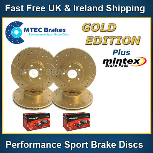 Ford Mondeo 07-12 mk4 Gold Edition Front Rear Brake Discs Drilled /& Grooved Pads