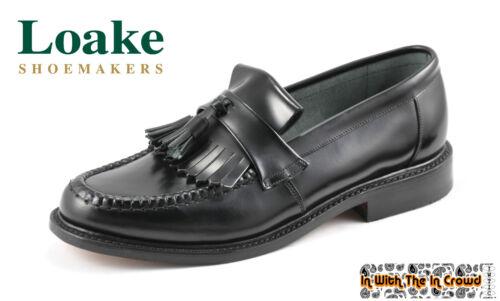 Loake Brighton Tassel Loafers Leather Shoes Oxblood Burgundy Black Mod SALE
