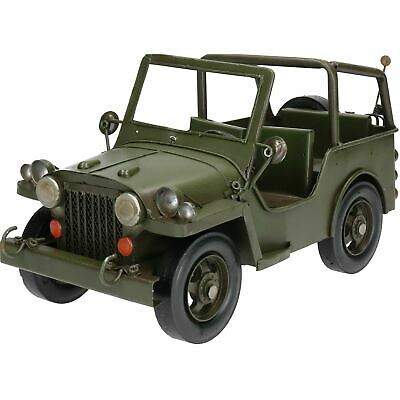 Vintage Hand Painted Army Jeep Metal Garden Ornament Home Decorative Sculpture