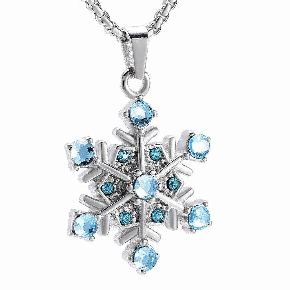 Snowflake Cremation Necklace For Ashes Of Loved One Keepsake Memorial Urn Ebay