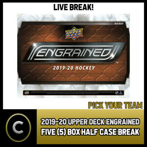 2019-20-UPPER-DECK-ENGRAINED-5-BOX-HALF-CASE-BREAK-H838-PICK-YOUR-TEAM
