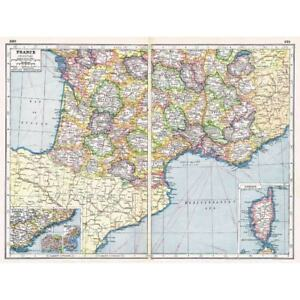 Antique Map 1920 FRANCE South inset of Riviera Corsica