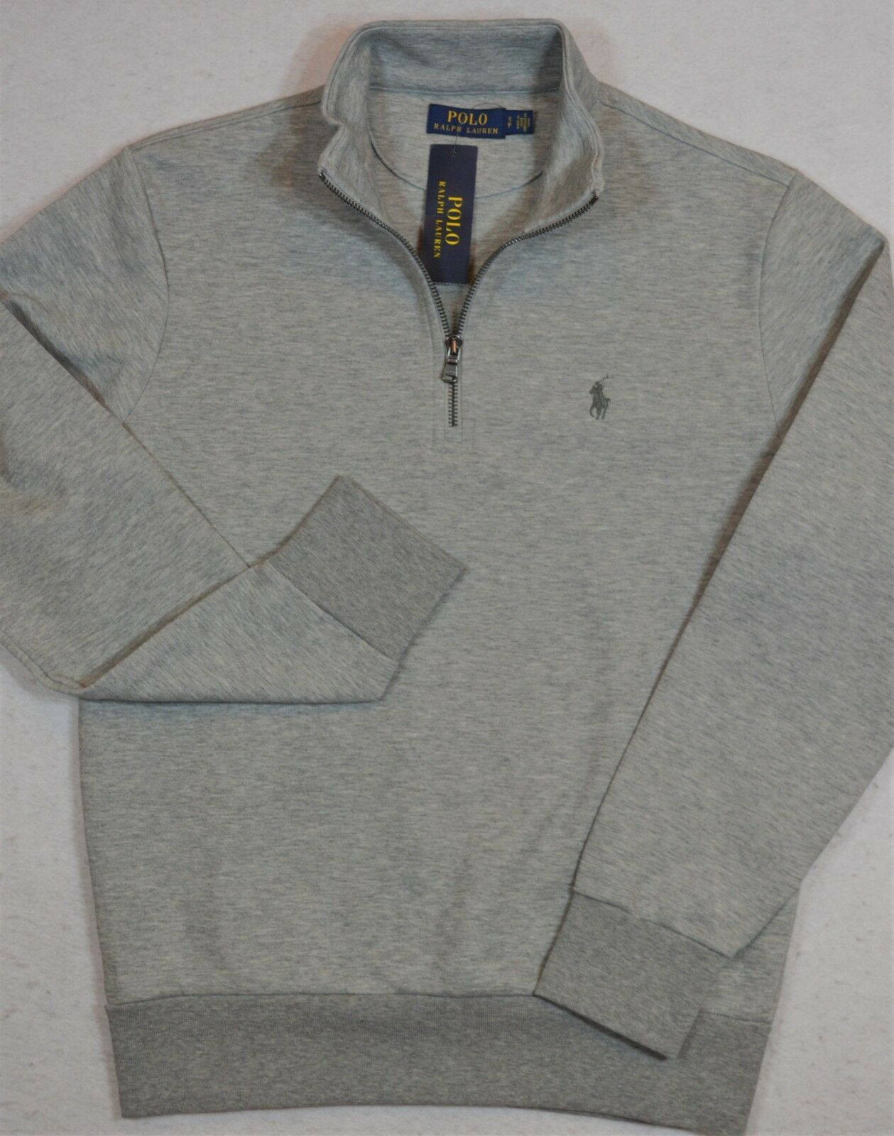 Polo Ralph Lauren Jersey Pullover 1/2 Half-Zip grau Größe S Small NWT