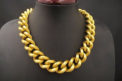 """Vintage Anne Klein Gold Chunky Textured Curb Link Chain Necklace 18"""""""