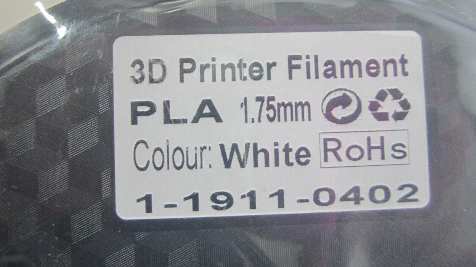3D Printer Filament, PLA 1.75 mm, White, RoHs, 1 -1911 -0402