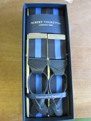 BLACK LEATHER ENDS ALBERT THURSTON BARATHEA BRACES BLACK//BLUE STRIPE