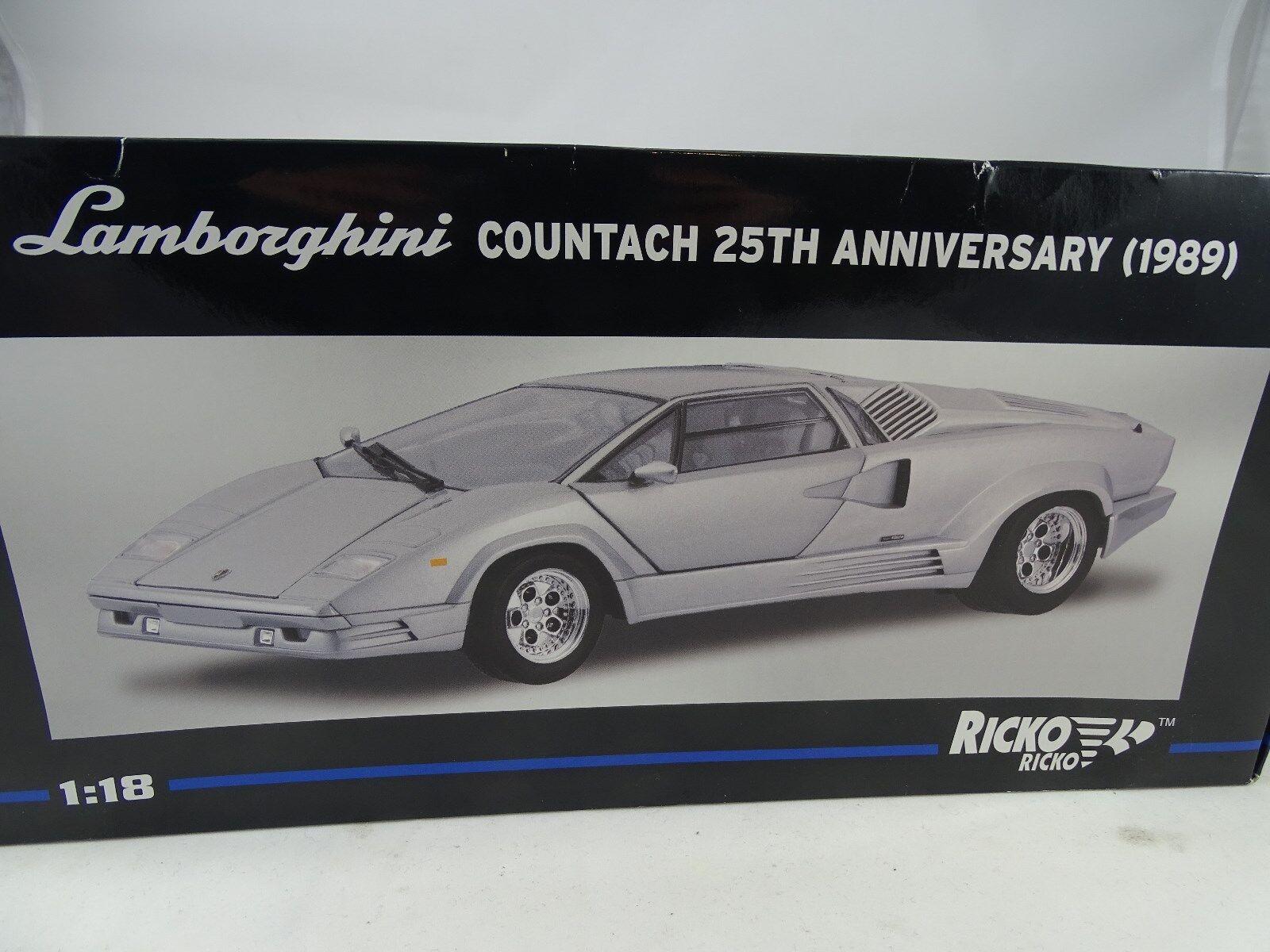 1/18 Ricko 32141 Lamborghini Countach 25th Anniversary 2018 Plata - Rareza