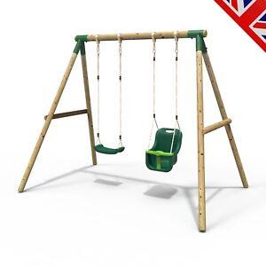 Rebo Children's Wooden Garden Swing Sets Single + Baby Swing Seats - Luna