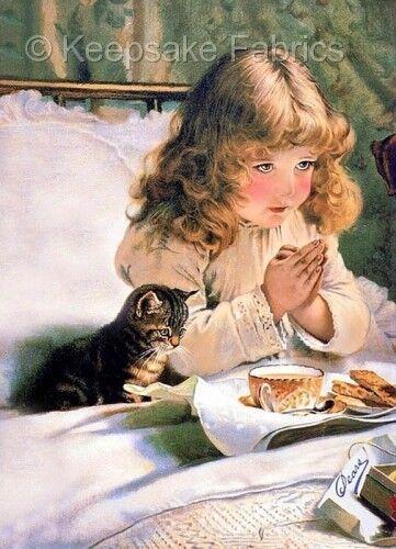 """""""Suspence"""" Girl & Kitten Tea Quilt Block Multi Sizes"""