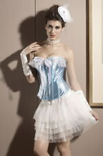 Crossdresser Sissy Blue Satin & Lace Alice Corset Size 2XL